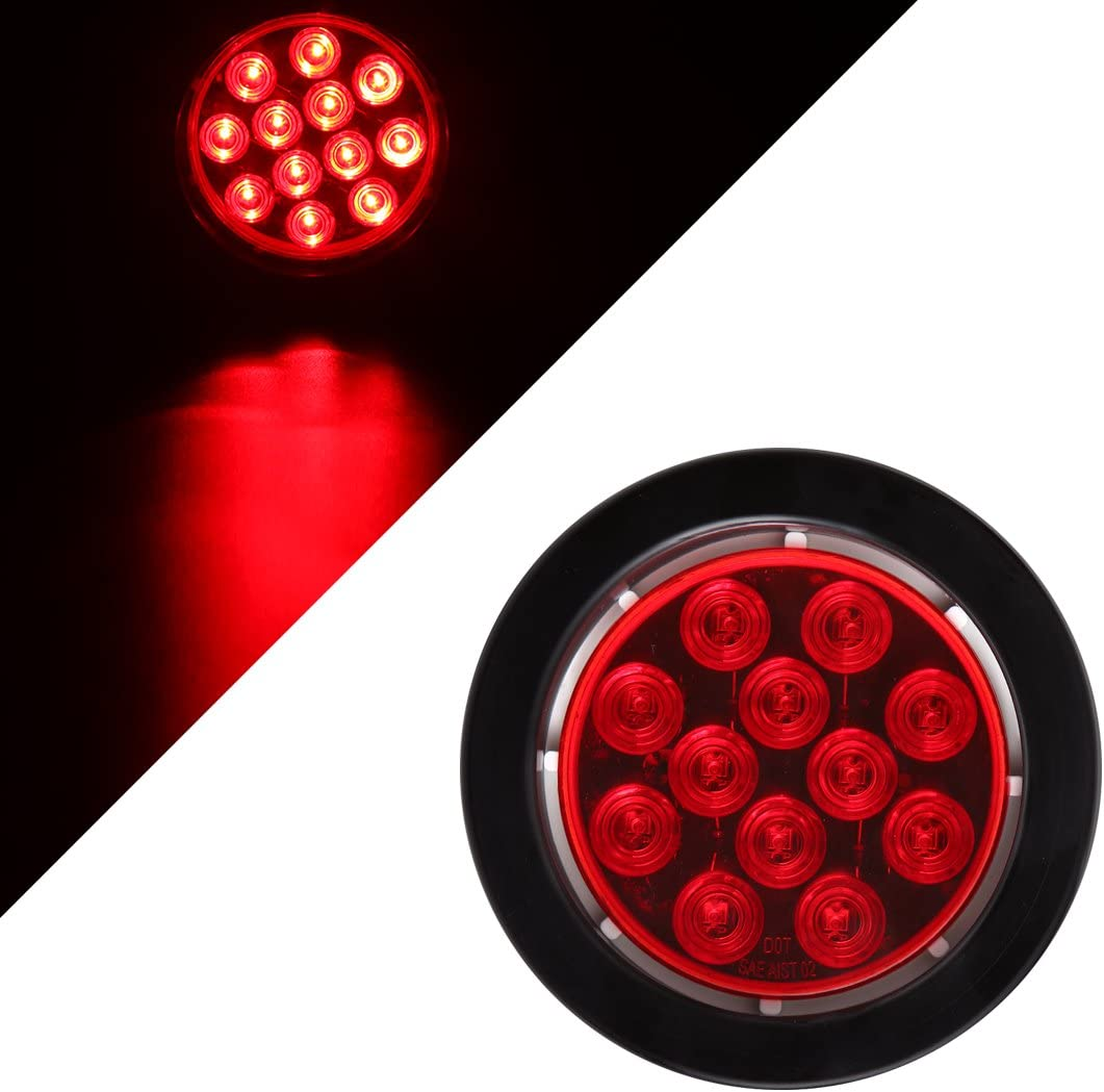 4Pack CZC AUTO Submersible Red Lens 4 Round LED Trailer Stop Tail Turn Running Light with Grommet and Plug for Boat Trailer Truck