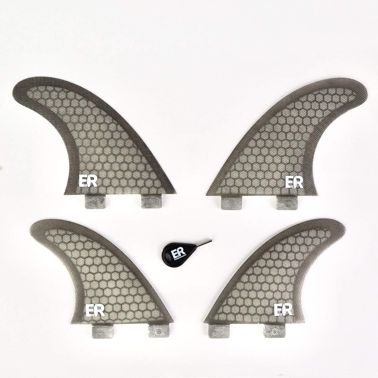 ER FCS Quad Fin Set, Fiberglass Honeycomb, schwarz oder blau!