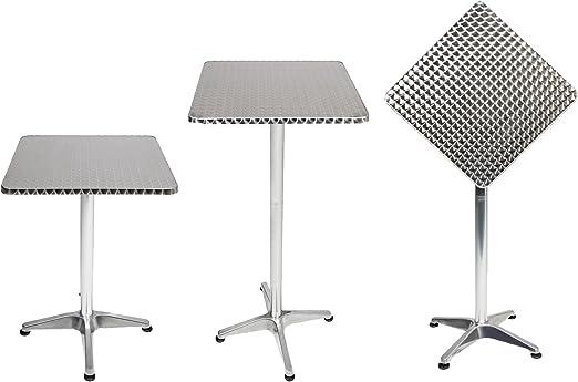 Mojawo® - Mesa alta de bar, mesa de terraza, aluminio, 60 x 60 cm ...