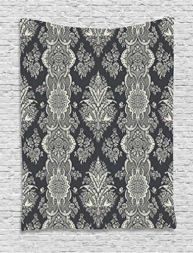 Damask Tapestry, Victorian Style Baroque Classic Pattern with Ornamental Floral Leaves Image, Wall Hanging for Bedroom Living Room Dorm, 40 W x 60 L Inches, Charcoal Grey Cream -