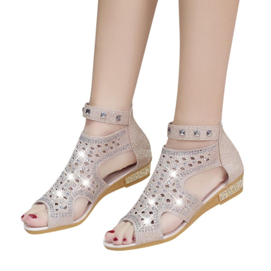 AIMTOPPY HOT Sale, Spring Summer Ladies Women Wedge Sandals Fashion Fish Mouth Hollow Roma Shoes (US:6.5, Beige 2)