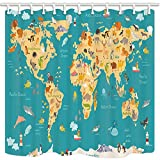 NYMB Kids Animal Map Bath Curtains for Bathroom, Preschool Children World Map with Ocean Name, Mildew Resistant Fabric Shower Curtain, Shower Curtains Hooks Included, 69X70in