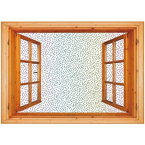Art Spectrum Liquid - 3D Depth Illusion Vinyl Wall Decal Sticker [ Farmhouse Decor,Gradient Downpour Figure in Large Spectrum Spotted Little Liquids Wet Home Decor,Multi ] Window Frame Style Home Decor Art Removable Wall S