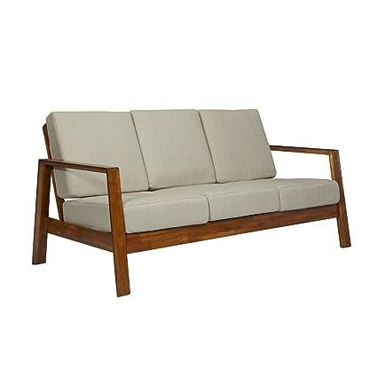 Bon MyEasyShopping Columbus Mid Century Modern Barley Tan Linen Sofa With Exposed  Wood Frame Sofa Sleeper Futon