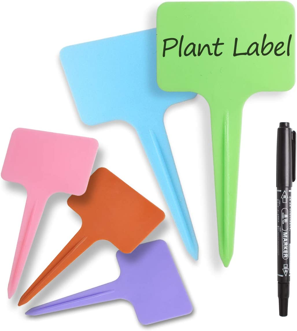 100 Pcs Plastic Plant Labels Reusable T-Shape Tags with Markers Garden Plants Labels 2.36