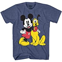 Disney Mickey Mouse & Pluto Classic Distressed Vintage Dog World Disneyland Funny Mens Adult Graphic Tee T-Shirt
