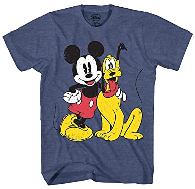 1b1b04ecc55a23 Mickey Mouse & Pluto Classic Distressed Vintage Dog Disney World Disneyland  Funny Mens Adult Graphic Tee