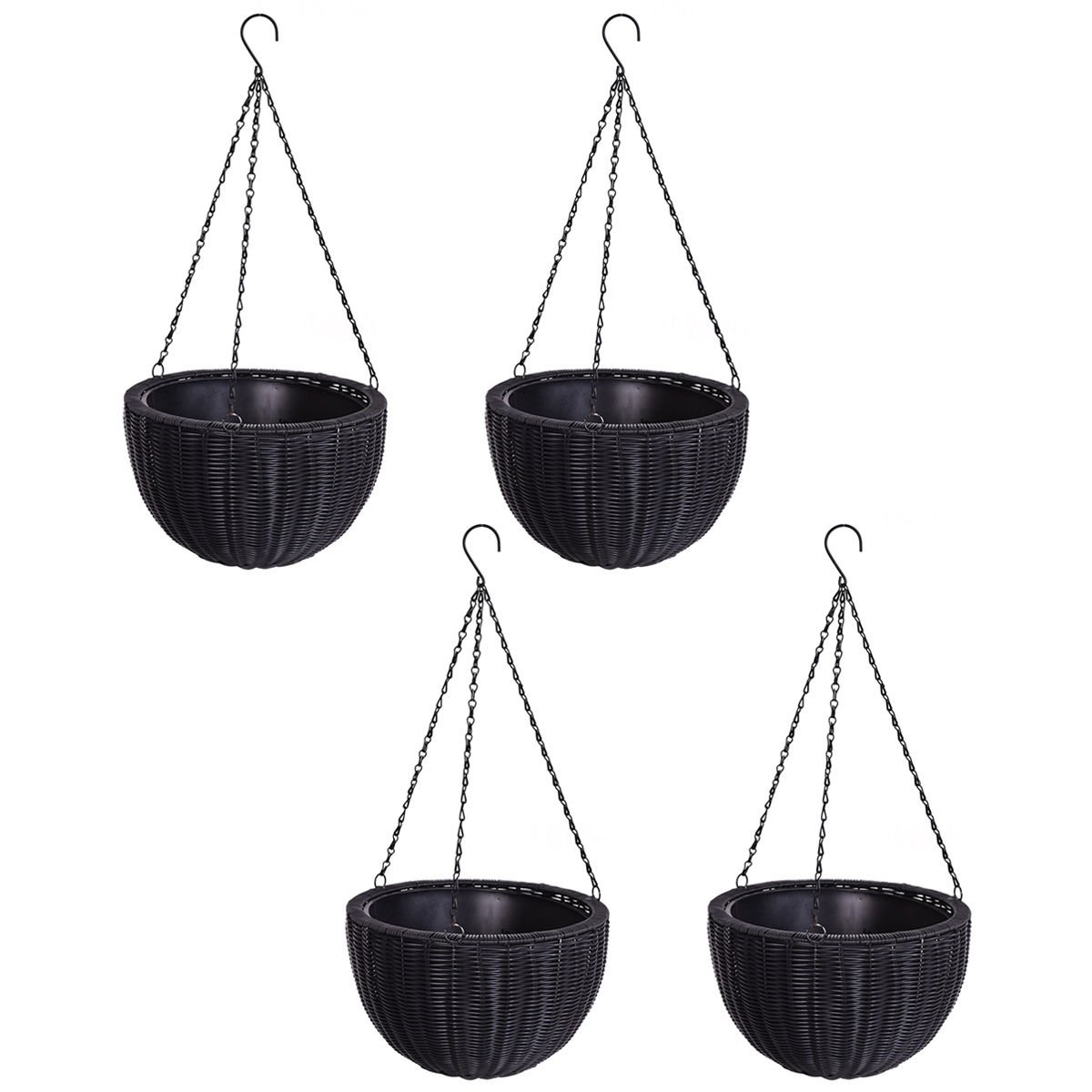 4 PCS 13.8'' Round PE Rattan Garden Plant Hanging Planters Decor Pots by allgoodsdelight365