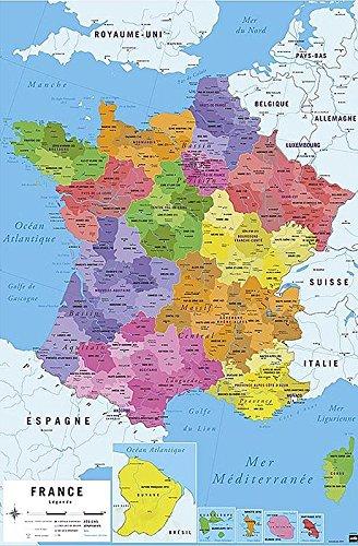 Carte De France 2017 Poster Karte Von Frankreich 2017 61cm X 91