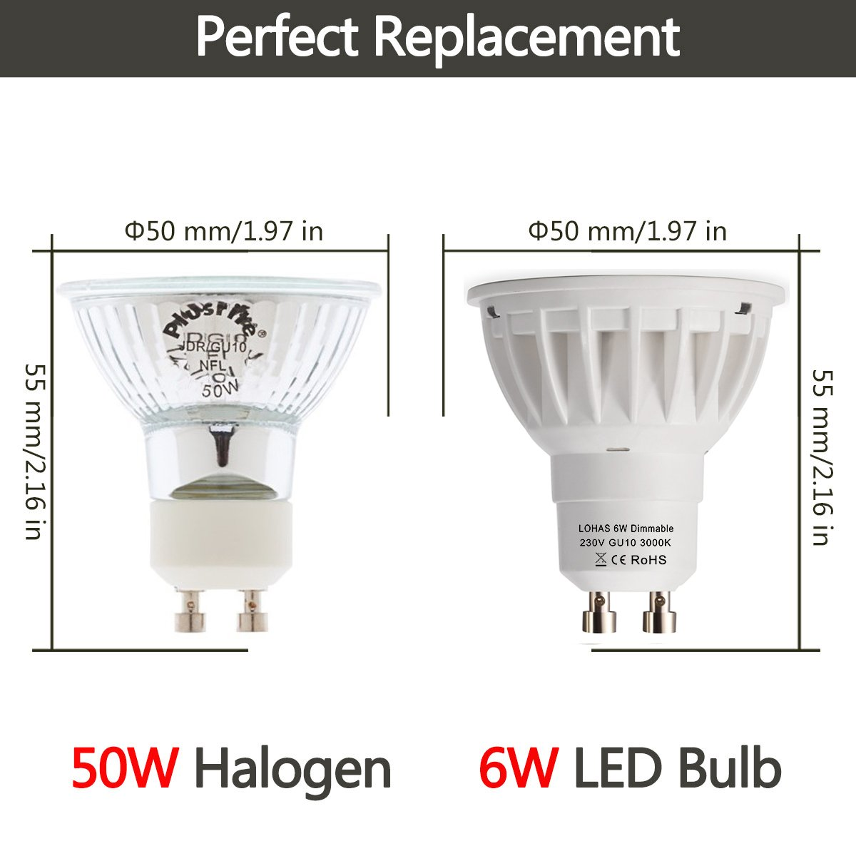 Lohas dimmable gu10 6w led beautiful 3000k warm white 50w lohas dimmable gu10 6w led beautiful 3000k warm white 50w replacement for halogen bulb120beam angleultra bright led light bulbs pack of 10 units mozeypictures Images