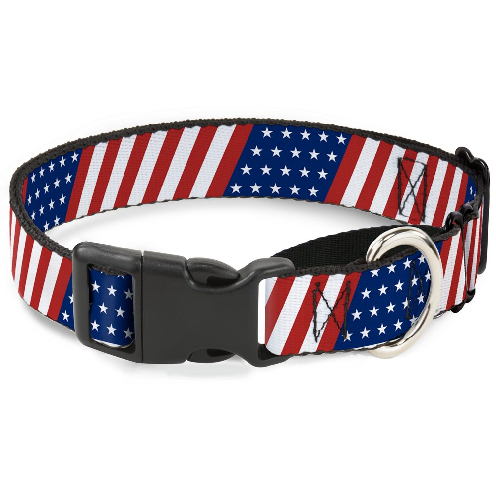 Buckle-Down American Flag Diagonal Martingale Dog Collar, 1  Wide-Fits 11-17  Neck-Medium
