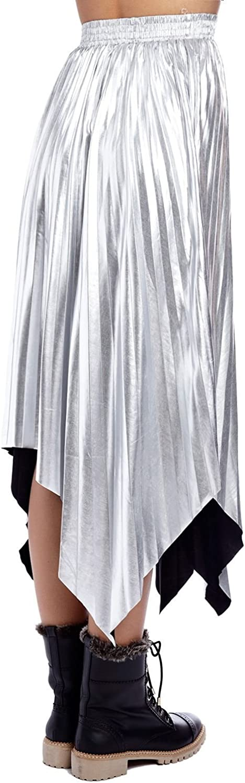 Q2 Mujer Falda Plisada Metalica Plata con Picos - One - Plata ...