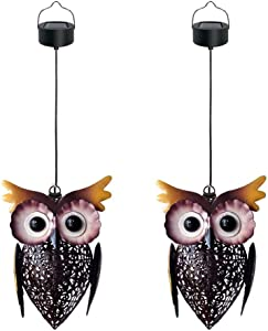 Petrala Solar Lantern Lights Hanging Outdoor Vintage Cute Owl Metal Lanterns 7 lumens Brown for Garden Patio Porch Christmas Decoration Gifts 2 Pack