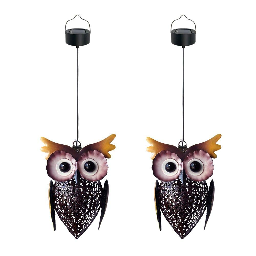 Petrala Solar Lantern Lights Hanging Outdoor Vintage Cute Owl Metal Lanterns 7 lumens Brown for Garden Patio Porch 2 Pack
