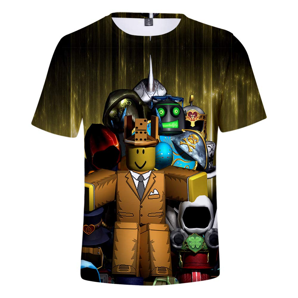 WQWQ Camiseta de Hombre Roblox, Manga Corta con Cuello Redondo Impreso en 3D, Camisa de Juego Sandbox 100% poliéster XL XXL