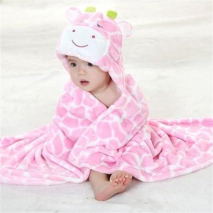 Animal dibujos animados con capucha toallas de franela de manopla para bebés con capucha bebé toalla