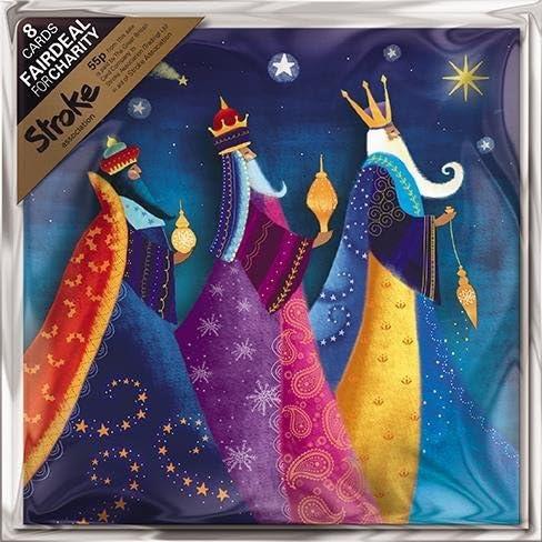 Pack of 8 We Three Kings Stroke Fairdeal Charity Christmas Cards: Amazon.es: Oficina y papelería