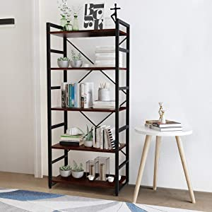 Haton 5 Tier Industrial Bookshelf with Indoor Outdoor Sofa Bedside Home Decor Coffee Tea End Side Table Set for Living Room, Bedroom, Balcony and Office