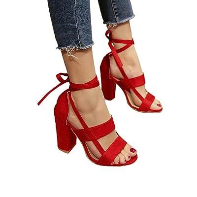 ????Sandales D'été des Femmes, Été Mode Femmes Dames Sandales Cheville Talons Hauts Block Party Open Toe Chaussures Epais Epais Gladiateur Chaussures Binggong