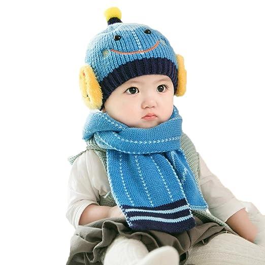 29f3b872d55 Amazon.com  LNGRY Baby Cute Winter Kids Baby Hats Keep Warm Set Cute Hat  Scarf (Blue)  Clothing