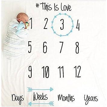Espeedy Bebé fotografía fondo de tela,Lindo bebé mantas swaddle envolver toallas recién nacidos números impreso suave bricolaje niños fotografía apoyos: ...