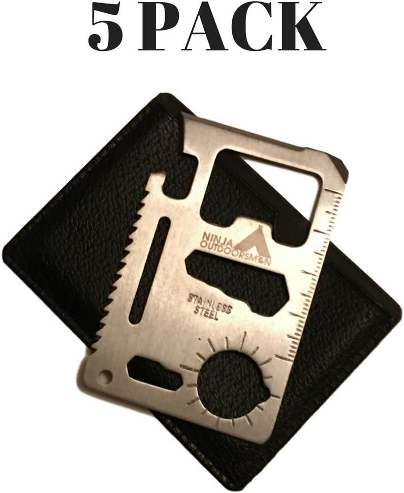 Ninja Outdoorsman 11 in 1 Stainless Steel Credit Card Pocket Sized Survival Multi Tool (5 Pack)
