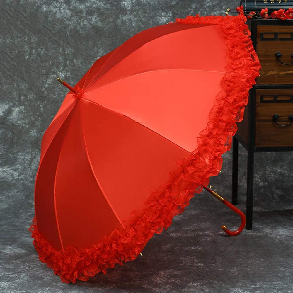 KIAYI Red Wedding Umbrellas with Lace Waterproof Crooked Handle Bridal