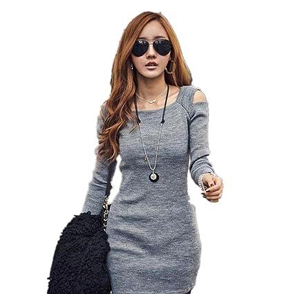 Vestido de mujer otoño invierno Amlaiworld Mini vestido corto de punto de manga larga de invierno
