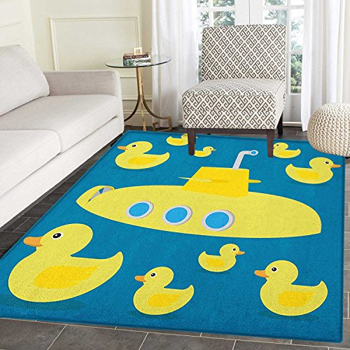 Rubber Duck Area Rug Carpet Duckies Swimming in the Sea with a Yellow Submarine Kids Party Nautical Print Living Dining Room Bedroom Hallway Office Carpet 3'x4' Navy -