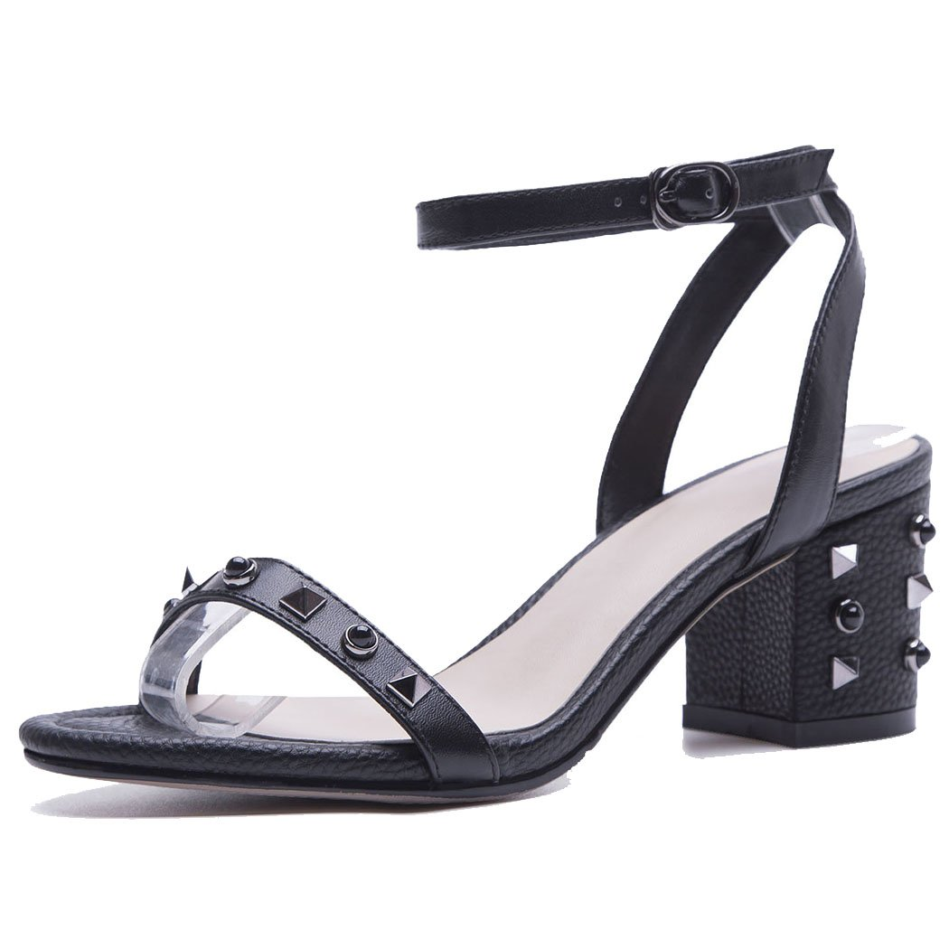 GAOLIXIA Mujeres de Las Señoras de Cuero Real Punta Abierta Sandalias de la T-Correa de Verano Remache Correa de Tobillo Zapatos de Tacón Alto de la Corte de Las Bombas Zapatos de Trabajo de Oficina 39|Negro