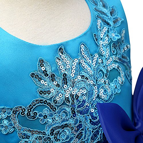 ONCEMORE Blue and Sapphire / Royal Blue Splicing Girls Dresses Zipper Style (Blue and Sapphire, 130)