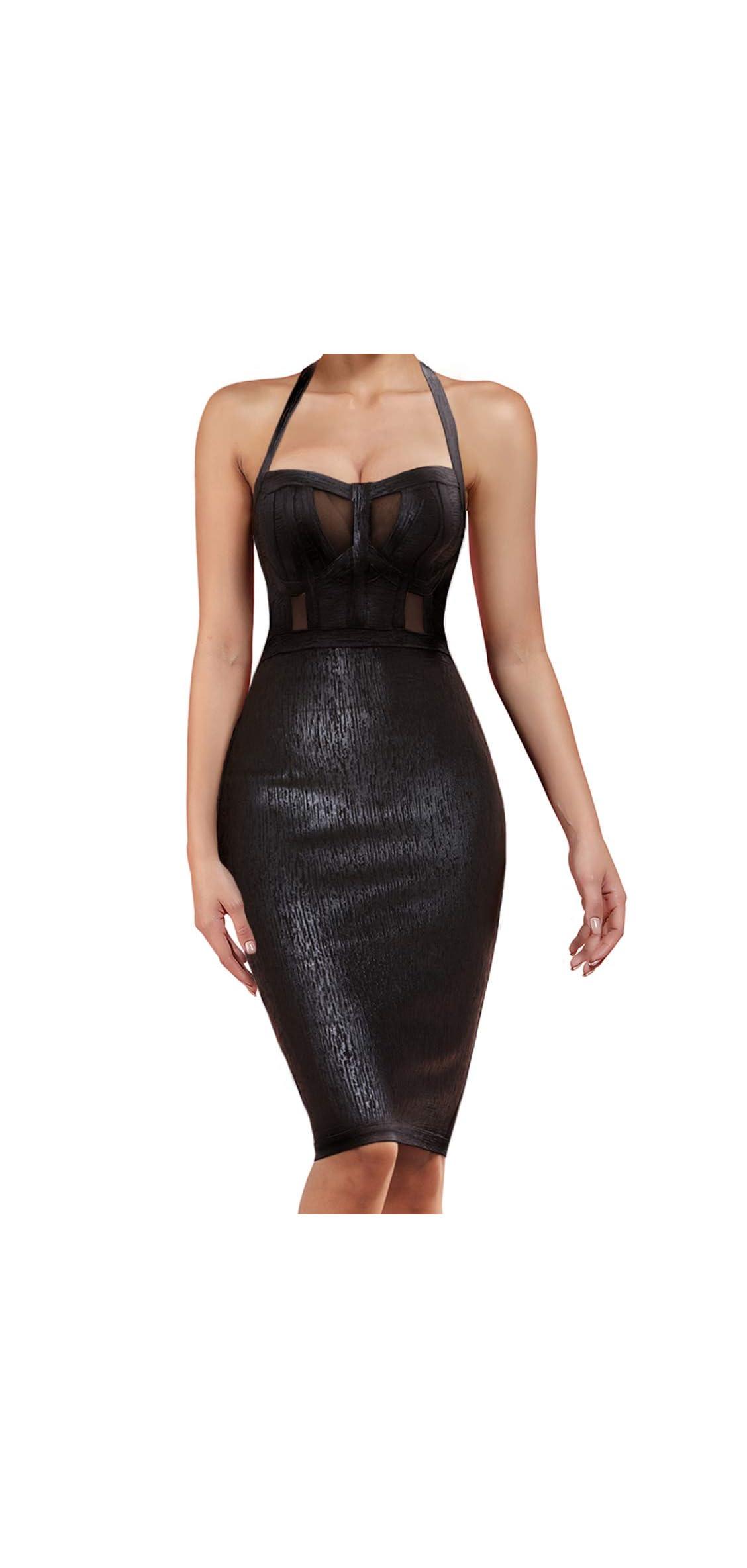 Women's Sexy Rayon Halter Strapless Foil Sheer Mesh Dress