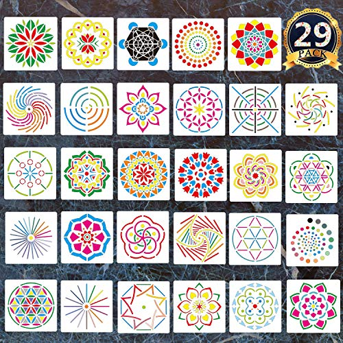 29 Pack Mandala Dotting Stencils Template,Mandala Dotting Stencils Mandala Dot Painting Stencils Painting Stencils for Painting on Wood,Airbrush and Walls Art