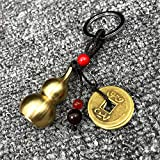 WEISIPU Feng Shui Coins with Brass Calabash Tassels Wu Lou Key Chain Calabash Decorations Longevity Decorations Pendant Chinese Gourd Brass