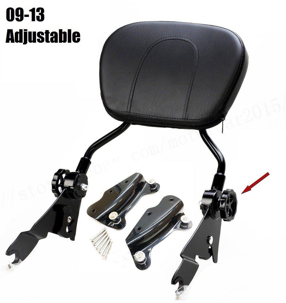 Kits de mat/ériel damarrage de dossier de sissybar noir r/églable pour Harley Touring Street Glide roadking ultra CVO 2009-2013