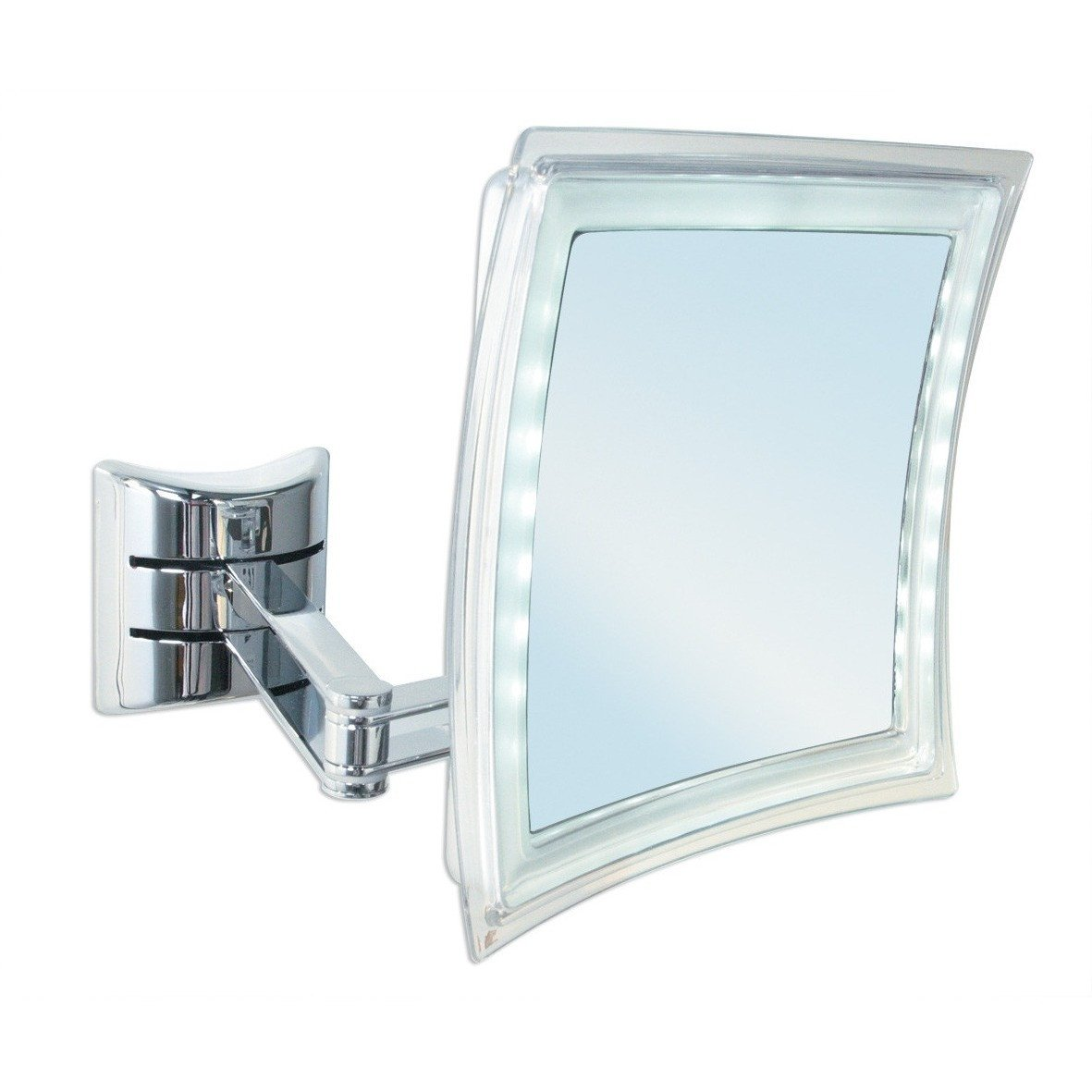 BR Wall Mounted 5X LED 3 Brightness Levels Cosmetic Makeup Magnifying Mirror