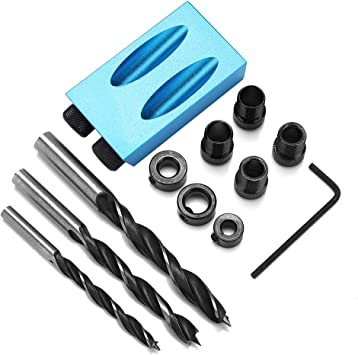 14PCS//Set 15 Degree Pocket Hole Drilling Kit Woodworking Oblique Drill Guide Kit