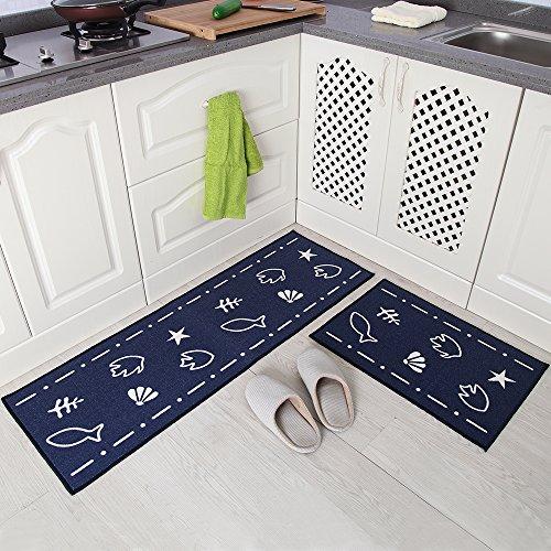 Carvapet 2 Piece Non-Slip Kitchen Mat Rubber Backing Doormat Runner Rug Set, Fish Shell Design (Navy 15