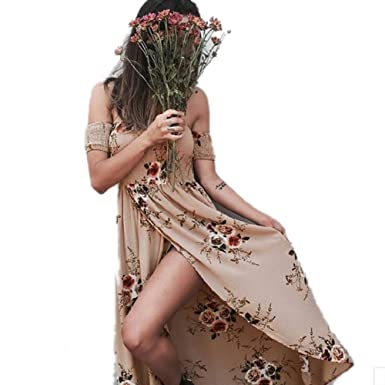 ZHANGZZ Women Off Shoulder Beach Summer Dress Floral Print Vintage Chiffon Maxi Vestidos Apricot XS