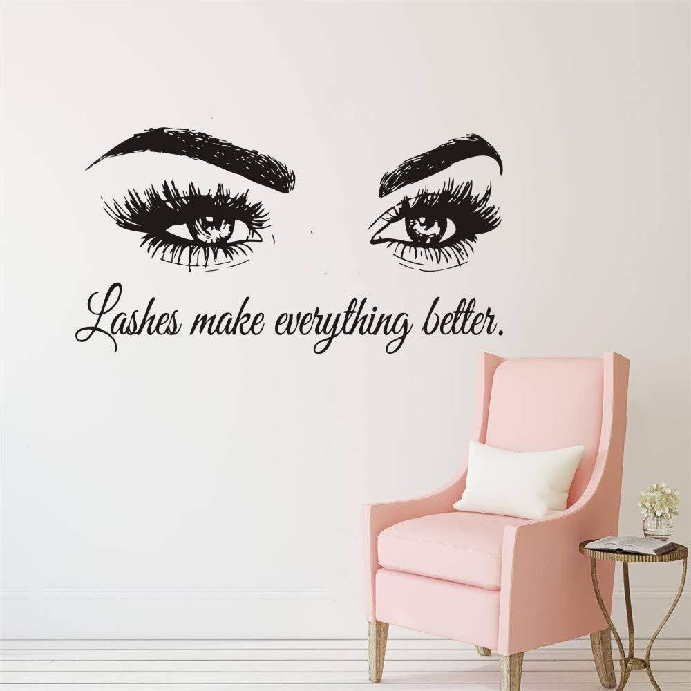 Wall Decal Beauty Salon Quote Sticker Lashes Make everything Better Beautiful Eyes Eyelashes Lashes Extensions Brows Wall Sticker Make Up Wall Window Mural AY1075 (BLACK, 57X103CM) by YOYOYU ART HOME DECOR (Image #3)