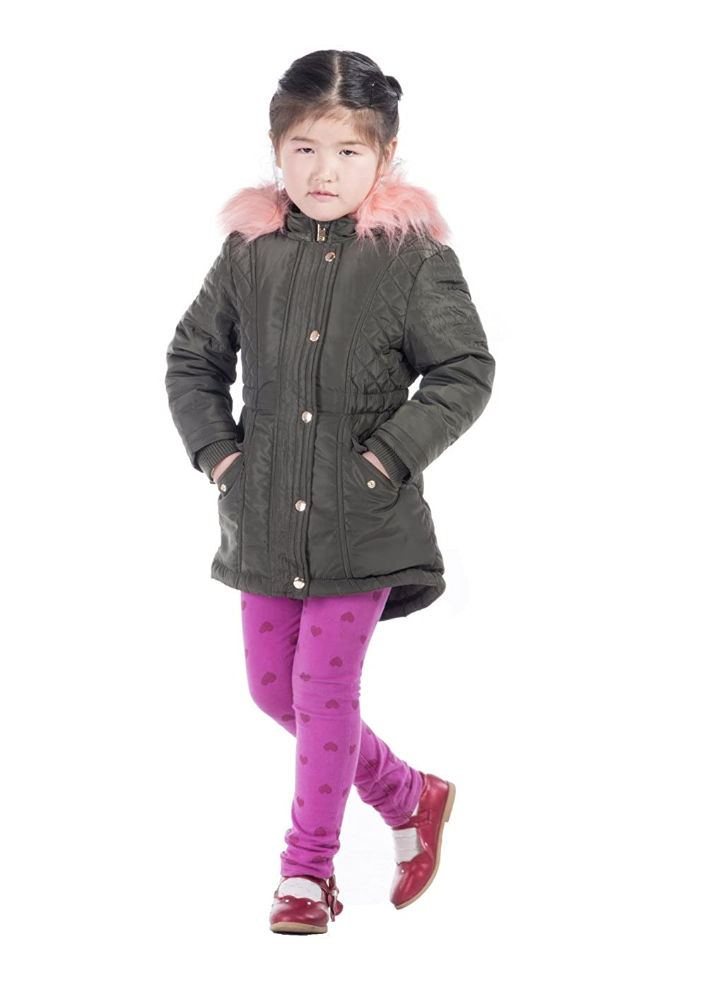 Infron IN FRONT Little Girl Winter Warm Down Jacket Faux Fur Hooded Coat with Elastic Waist