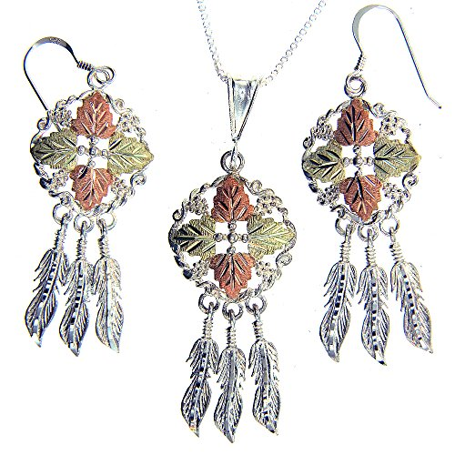Beautiful! Sterling-silver Yellow-gold Black Hills Gold Dream Catcher Dangle-earrings & Pendant 16 Inch by Rich Peel
