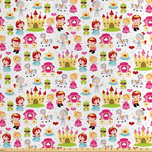 Lunarable Fantasy Fabric by The Yard, Cartoon Illustration Princesses Princes Knights Castles Crowns Frogs Horses, Decorative Satin Fabric for Home Textiles and Crafts, 1 Yard, Multicolor