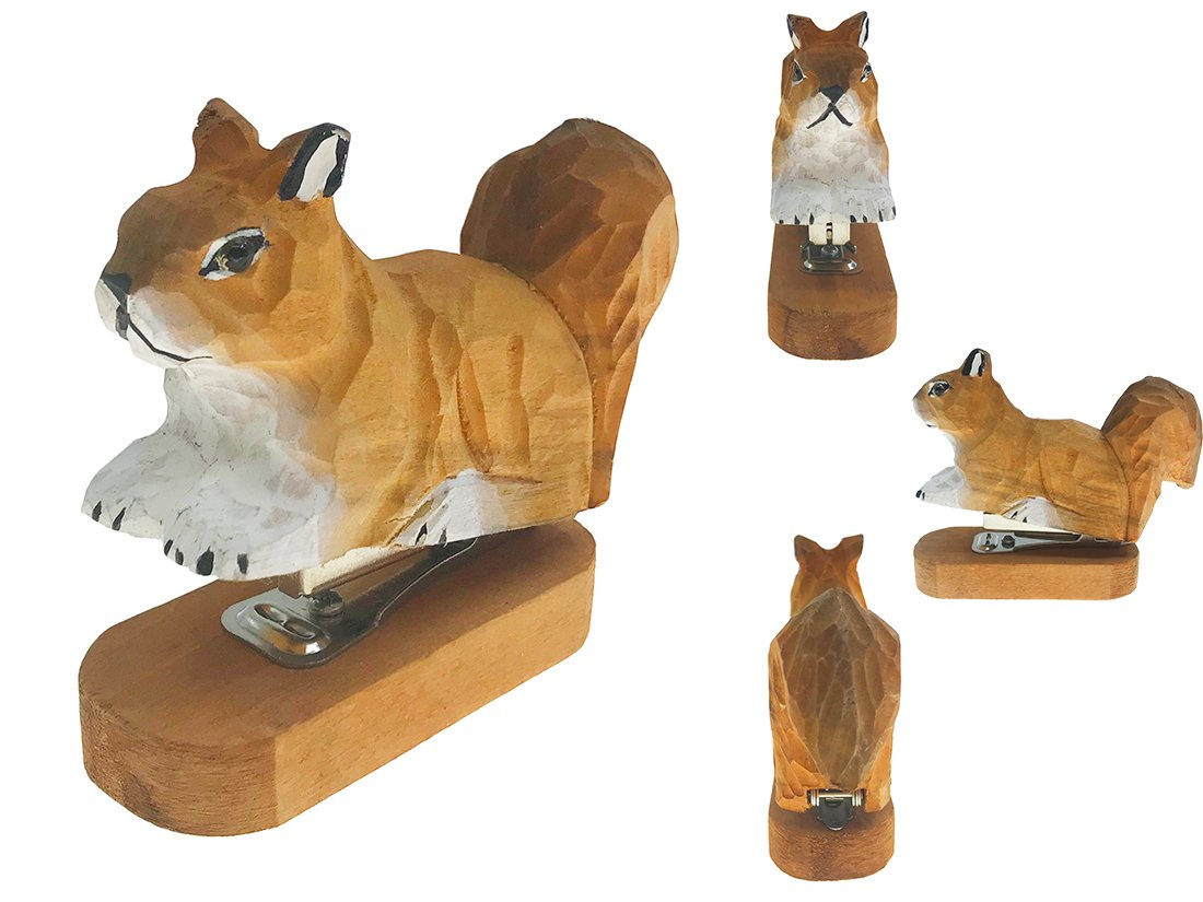 Vivid Handmade Wood Carving Cartoon Mini Animal Stapler for School Office Stationery Children Christmas Gift(Squirrel)