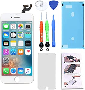 for iPhone 6S LCD Screen Replacement 4.7 inch White, 3D Touch Screen Display Digitizer Repair Kit Assembly with Complete Repair Tools and Screen Protector