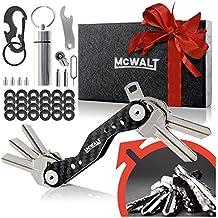 McWalt Carbon Fiber Key Organizer - Smart Compact Key Holder Keychain up to 20 Keys with Carabiner, Cash Stash, SIM and Bottle Opener - Black