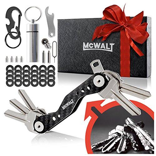 McWalt+Carbon+Fiber+Key+Organizer+-+Smart+Compact+Key+Holder+Keychain+up+to+20+Keys+with+Carabiner%2C+Cash+Stash%2C+SIM+and+Bottle+Opener+-+Black