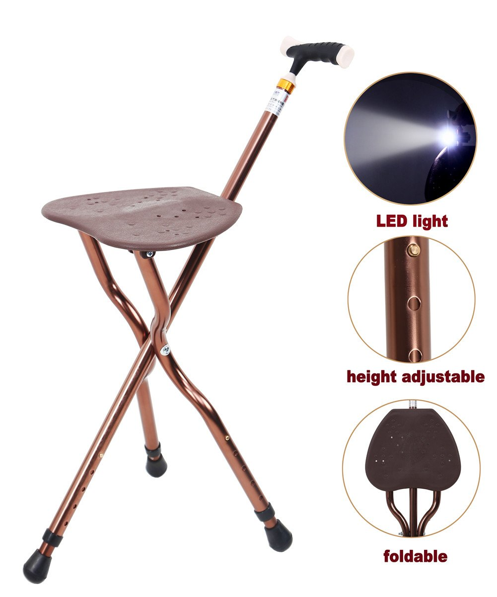 Best Health Cane Seat Stool Retractable Lightweight Walking Stick with LED Light for Elderly Outdoor Travel Rest Stool Folding Chair Replacement Large Golf Seat Large Weight Capacity (brown cane seat)