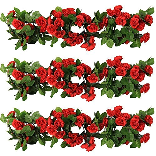YILIYAJIA 3PCS Artificial Rose Garlands Silk Fake Rose Flowers Green Leaves Vine for Home Hotel Office Wedding Party Garden Craft Art Decor (red)