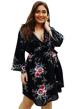 Lovelychica Women Plus Size Dress Printed V Neck Summer ...